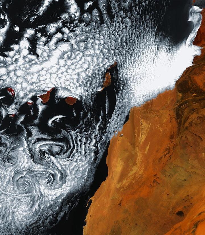 Swirling cloud art in the Atlantic Ocean