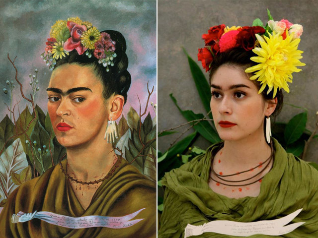 """Self portrait dedicated to Dr. Eloesser"", Frida Kahlo - remake by Yesenia Caloca"