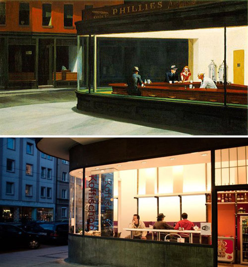 """Nighthawks"", Edward Hopper - remake by Bastian Vice"