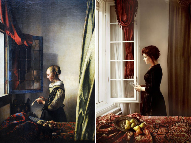"""Girl reading a letter by an open window"", Vermeer - remake by Wanda Martin"