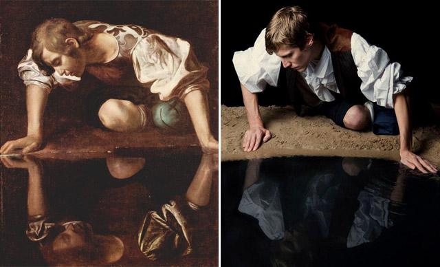 """Narcissus"", Caravaggio - remake by Max Zerrahn"