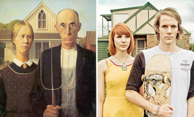 """American Gothic"", Grant Wood - remake by Jesse John Hunniford"