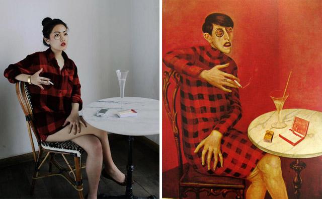 """""""Portrait of Sylvia Von Harden"""", Wilhelm Heinrich Otto Dix - remake by Stephan Hoffman & SoYeon Kim"""