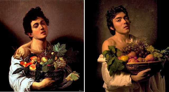 """Boy with a basket of fruit"", Caravaggio - remake by Guido Ricci"
