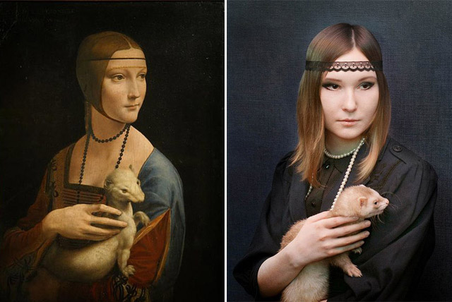 """Lady with an ermine"", Leonardo da Vinci - remake by Sarah Hertzman"