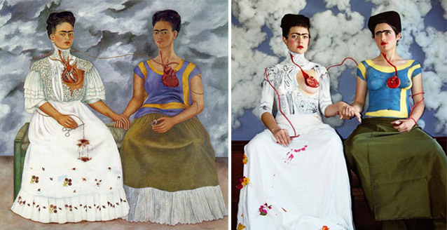 """The Two Fridas"", Frida Kahlo - remake by Claire Ball"