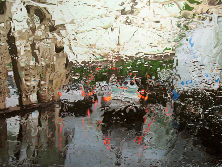 Astonishing Photorealistic Paintings Of Places Seen Through Wet - Astonishing photorealistic paintings of places seen through wet car windshields