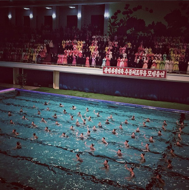 Mass synchronized swimming performance. Photo credits: David Guttenfelder