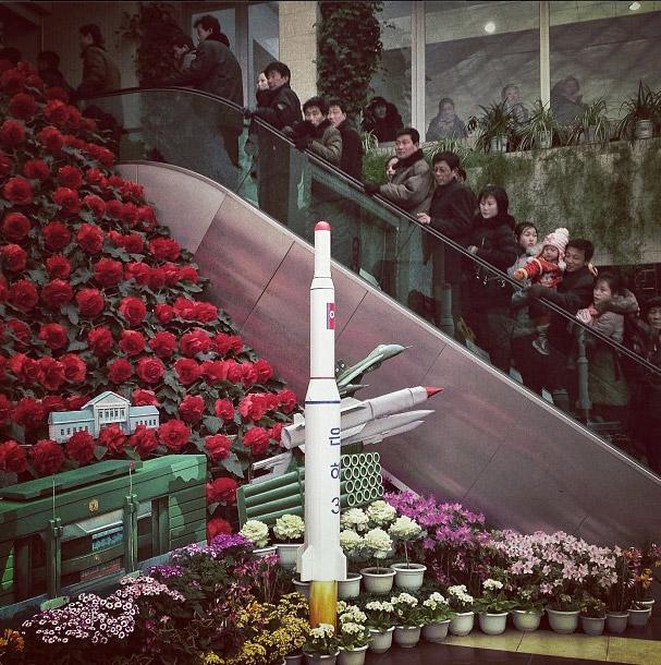 Model of Unha-3 rocket in Pyongyang. Photo credits: David Guttenfelder
