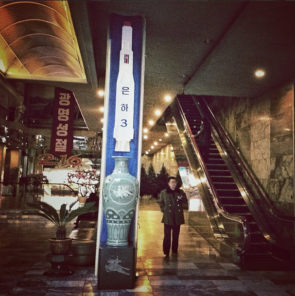 An image of North Korea's recently launched Unha-3 rocket in a Pyongyang Hotel. Photo credits: David Guttenfelder