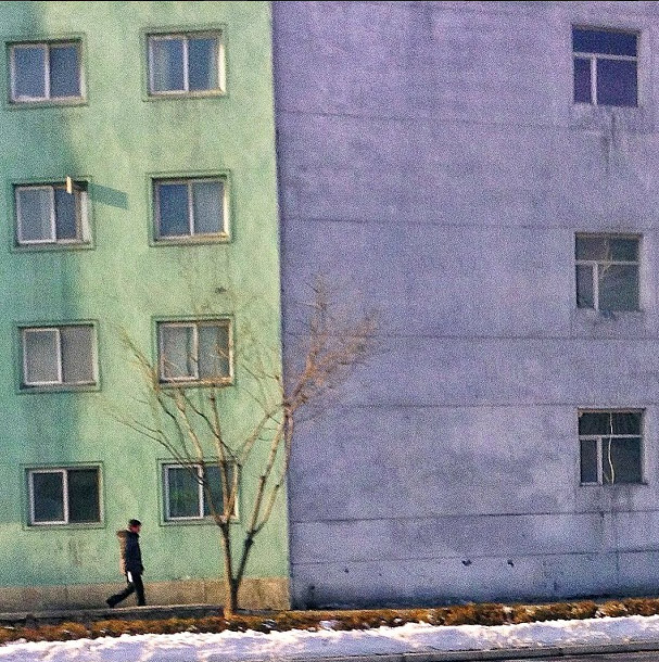 Pastel painted buildings in Pyongyang. Photo credits: David Guttenfelder