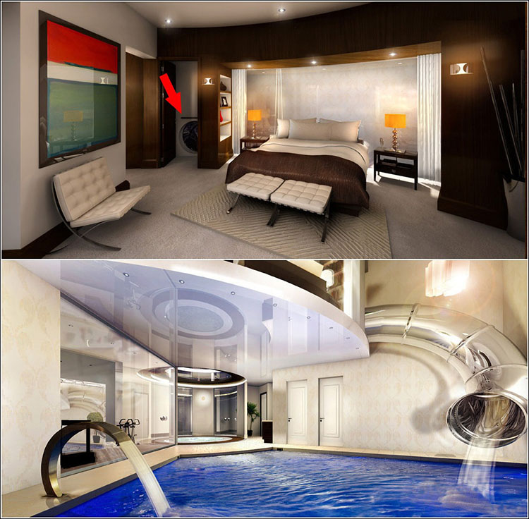 Indoor Slide To The Pool. Via: Curbed.com