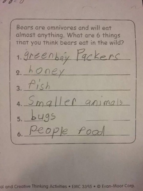 funny kids homework answers