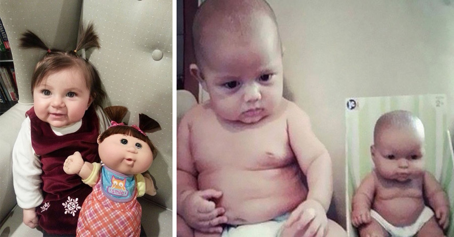 14 Funny Photos Of Babies Looking Exactly Like Their Dolls