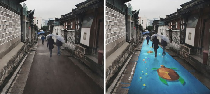 Beautiful street murals activated by rain