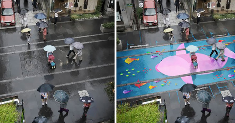Beautiful Street Murals Appear On Roads Only When It Rains - Beautiful street murals appear on roads only when it rains