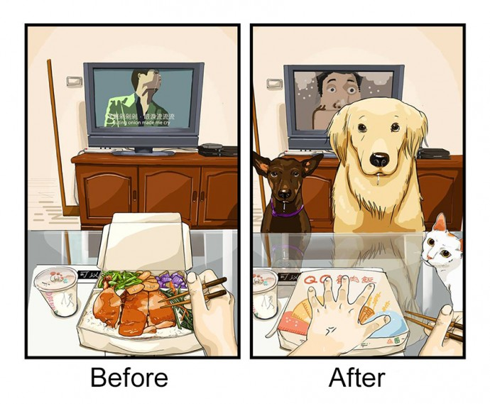 Hilarious Illustrations Depict How Life Changes Before And After Getting A Dog