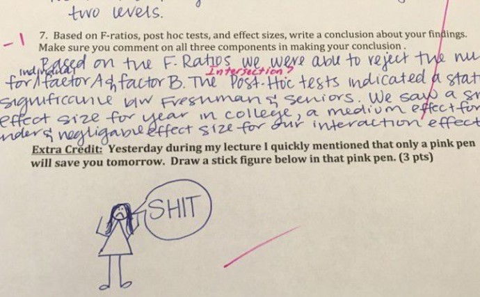 This Professor Ask Hilarious Extra Credit Questions To His Students. #6 Made My Entire Day.