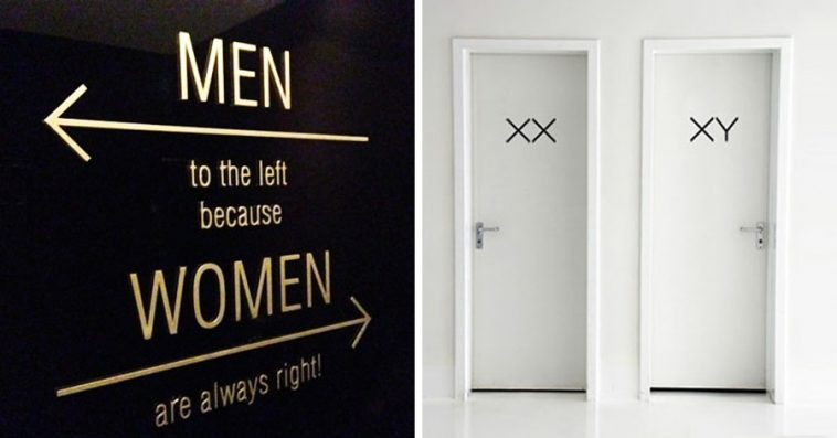 Bathroom Sign Mockup 19 of the most original bathroom signs ever made. #8 is just