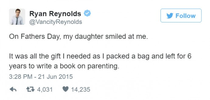 14 Hilarious Ryan Reynolds' Tweets About His Daughter Prove He's The Funniest Celebrity Dad Ever.