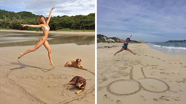 Woman Hilariously Recreates Celebrity Instagram Photos To Show How Weird They Actually Are. #11 Killed Me.