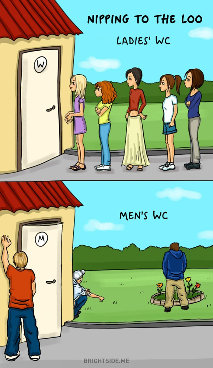 14 Hilarious Illustrations Depict The Differences Between Men And Women. #6 Is So True It Hurts!