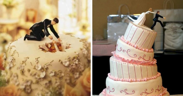 16 Hilariously Creative Wedding Cake Toppers 6 Is The Story Of - Coolest Wedding Cakes