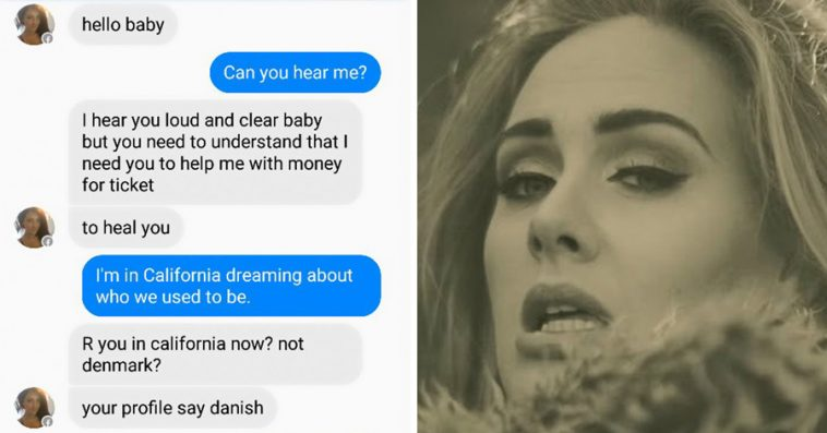 guy received a text from a facebook scammer and used adele 39 s lyrics to troll him the best way ever. Black Bedroom Furniture Sets. Home Design Ideas
