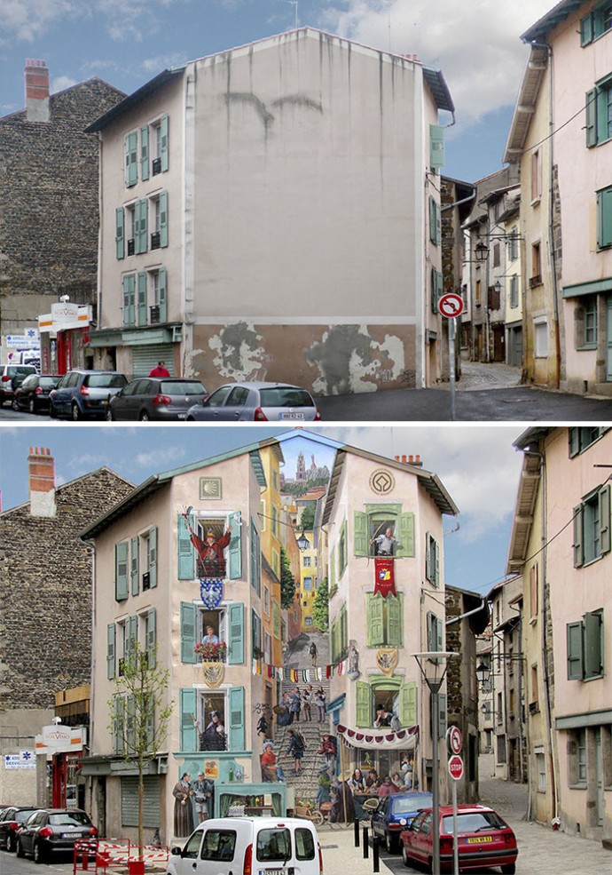 Artist Transforms Empty City Walls In Lively Scenes