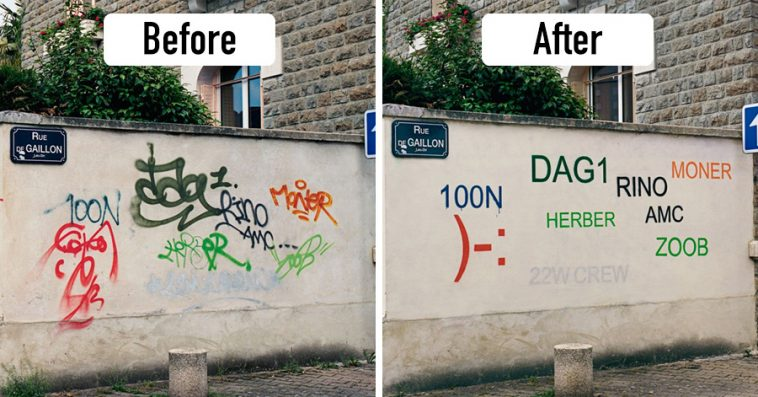 Guy Paints Over Graffiti And Rewrites Them In A More Legible Way - Guy paints over graffiti and rewrites them in a more legible way