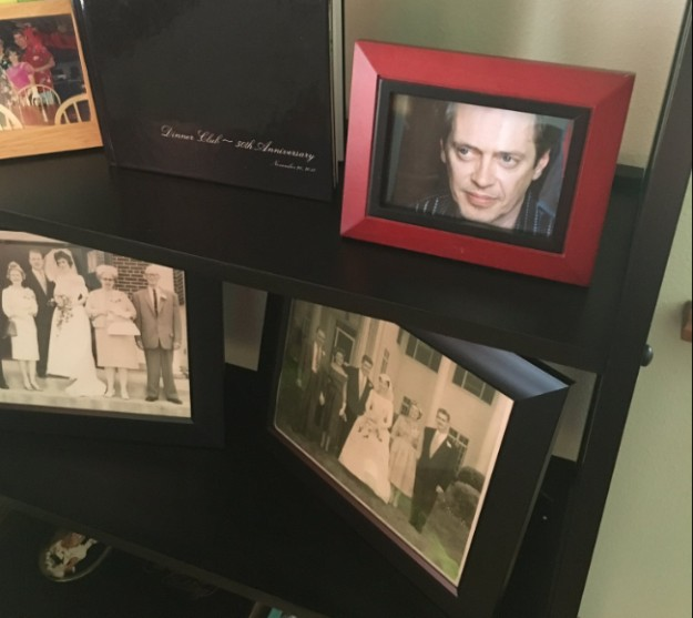 Guy replaces family photos with steve buscemi
