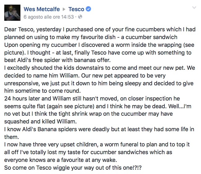 Man Complains About A Dead Worm He Found In His Cucumber. When Tesco Replied, Things Got Hilarious!