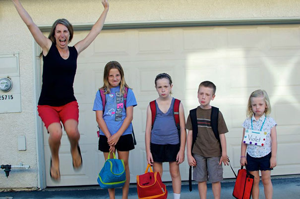 Parents celebrate the day their kids go back to school