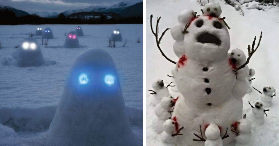 Creepy Horror Snowmen That Will Take Winter To The Next Level - 15 hilariously creative snowmen that will take winter to the next level 7 made my day
