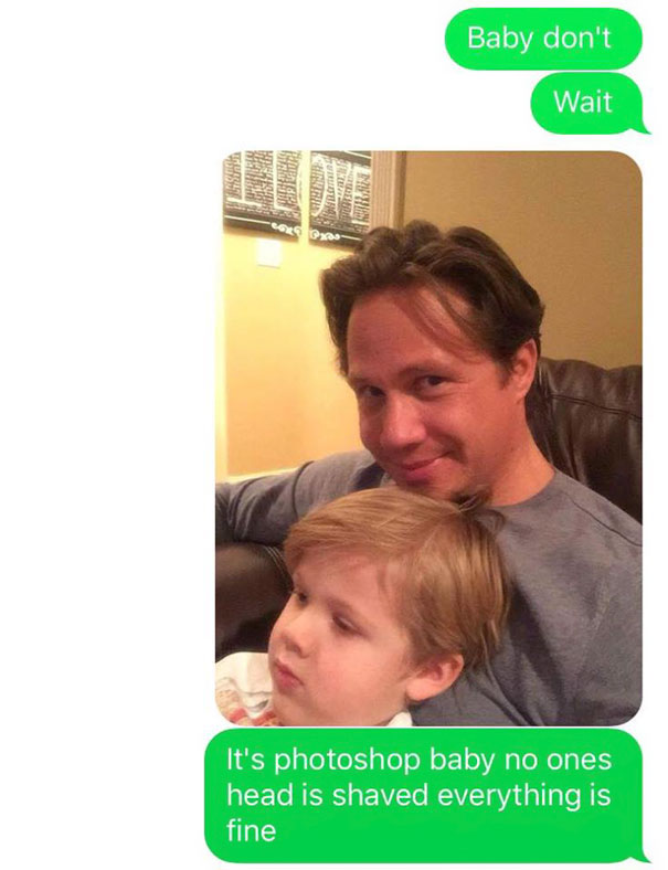 Husband Texts Wife Pics Of A Little Accident He Had With The Kid - Husband text wife pics little accident kid home hilariously freaks