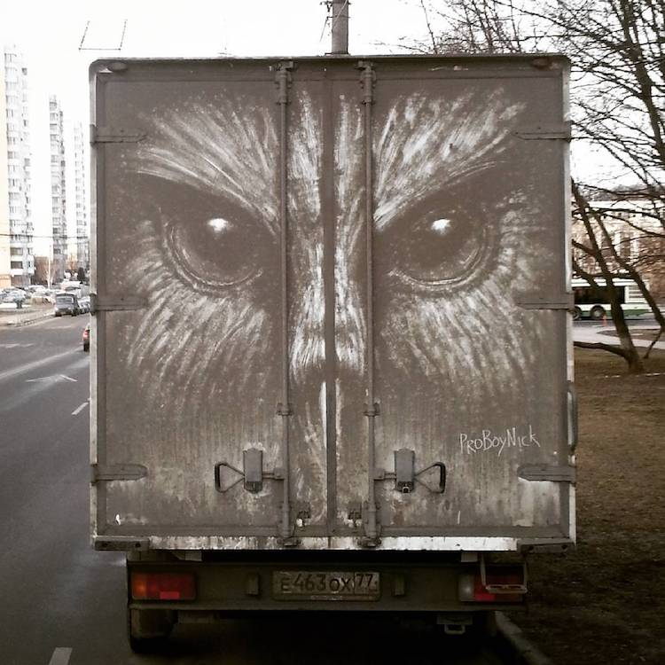 Russian Artist Transform Dirty Cars Into Art With The Most - Artist suffering from depression illustrates his struggles with mysterious dark paintings