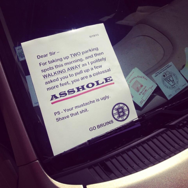 Hilarious PassiveAggressive Notes Left To Bad Parkers - 29 hilarious passive aggressive notes to bad parkers 4 killed me