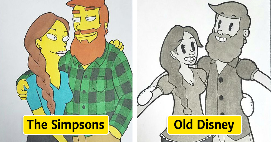 Boyfriend Surprised His Girlfriend By Drawing Them As A Couple In 10 Different Cartoon Styles