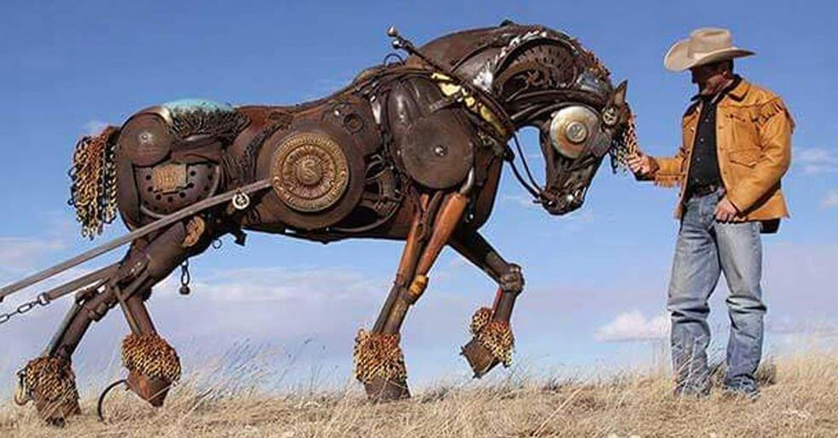 Artist Turns Old Farm Equipment Into Incredibly Detailed Animal Sculptures, And These Are Some Of His Best Creations