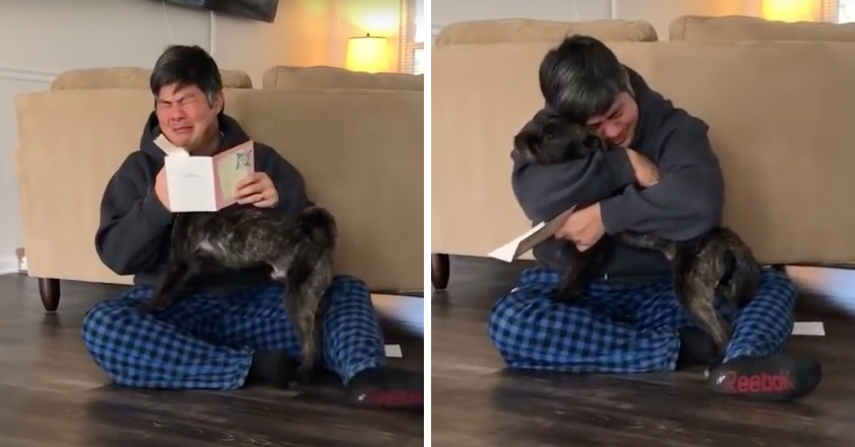 Man Can't Stop Crying Tears Of Joy When He Finds Out He Can Keep His Foster Dog